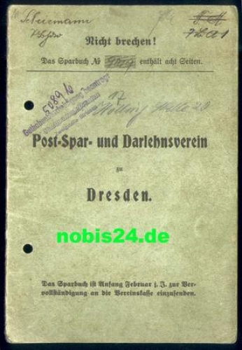 0000369650 Dresden Post Sparbuch ab 1930